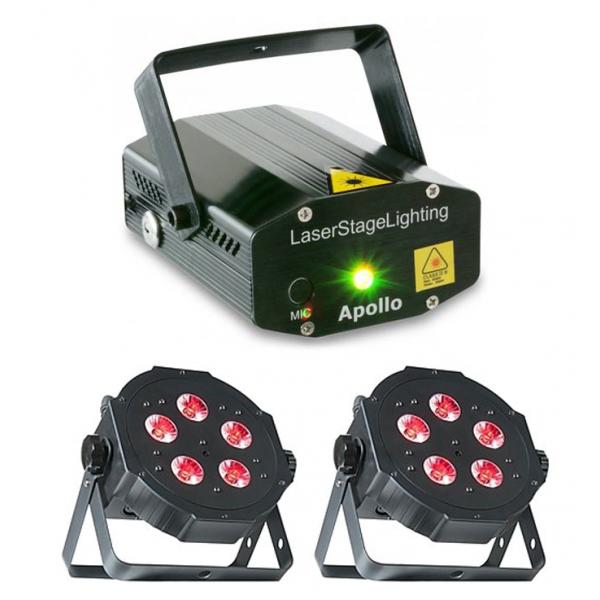<p>Ce pack lumière est composé de deux changeurs de couleurs à LED et d'un laser multi-point.</p> <p></p> <p>Il suffit de brancher l'ensemble sur une prise, et le tout foncitionne directement sur le rythme de la musique.</p> <p></p> <p>C'est le pack idéal pour une boom!</p>