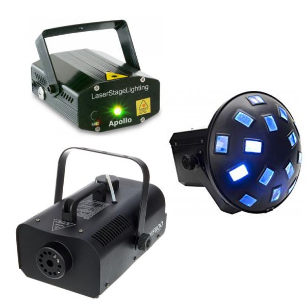 <p>Ce pack lumière Disco est composé d'un mushroom LED, d'un laser multi-point, ainsi que d'une machine à fumée à télécommande sans fil.</p> <p></p> <p>Il suffit de brancher l'ensemble sur une prise, et le tout foncitionne directement sur le rythme de la musique.</p> <p></p> <p>Idéal pour des petites soirées à la maison.</p>