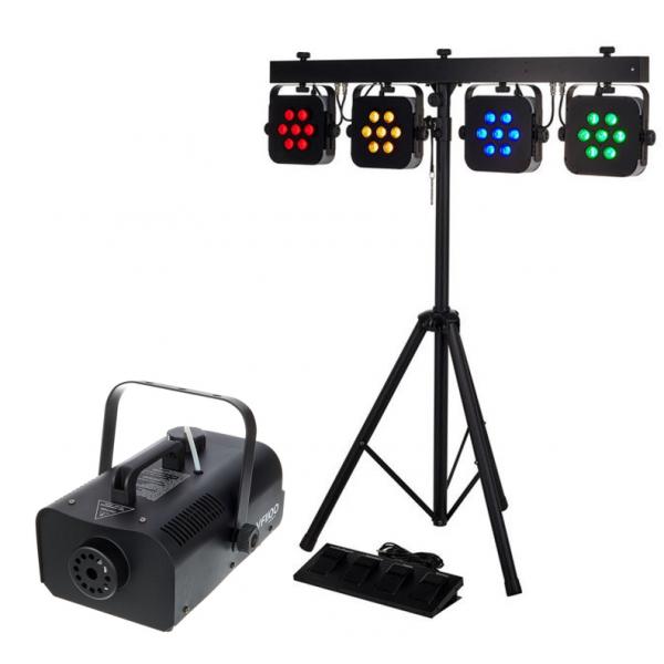 <p>Ce pack lumière composé de 4 projecteurs à LED et d'une machine à fumée avec liquide, est idéal pour éclairer vos petits événements.</p> <p></p> <p>Rallonges et multiprises peuvent être fournit.</p>